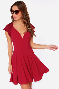 LULUS Exclusive Orchard Sunset Wine Red Short Sleeve Dress at Lulus.com!