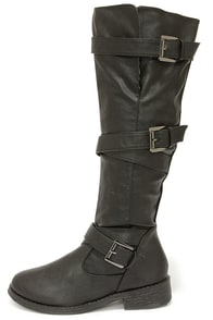 Bamboo Jagger 06A Black Buckled Knee High Boots at Lulus.com!