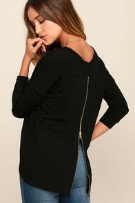 Zip to My Lou Black Sweater Top