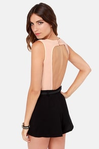 Plenty of Perks Peach and Black Romper at Lulus.com!