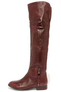 Chinese Laundry Fawn Bordeux Leather Over the Knee Boots