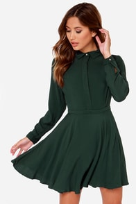 Rhythm Deschanel Forest Green Shirt Dress at Lulus.com!