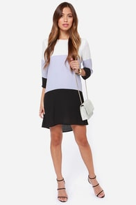 LULUS Exclusive Citrus Grove Lavender and Black Shift Dress at Lulus.com!