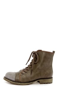 Dirty Laundry Royal Flush Gray and Gunmetal Lace-Up Boots at Lulus.com!