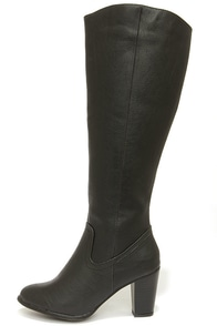 Felicia 14 Black Knee High Heel Boots at Lulus.com!