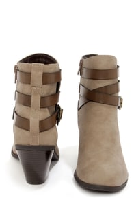 CL by Laundry Light Up Taupe Belted Ankle Boots at Lulus.com!