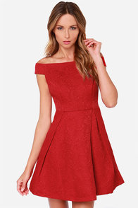 Please and Thanks Red Jacquard Dress at Lulus.com!