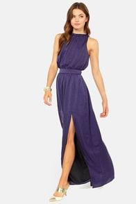 Blaque Label Fire Me Up Indigo Blue Maxi Dress