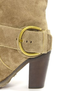 Very Volatile Lilly Olive Leather Belted High Heel Boots at Lulus.com!