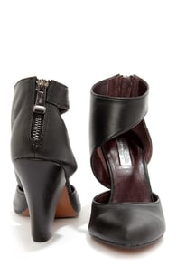 Report Signature Baywoode Black Leather D'Orsay Heels at Lulus.com!