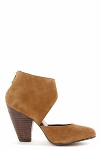 Report Signature Baywoode Dark Tan Leather D'Orsay Heels at Lulus.com!