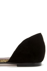 Report Signature Sophe Gold and Black Leather D'Orsay Flats at Lulus.com!