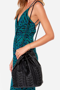 Dream Weaver Black Bucket Bag at Lulus.com!