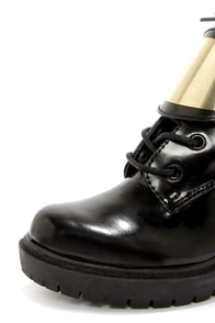 Report Signature Mansen Black and Gold High Heel Ankle Boots at Lulus.com!