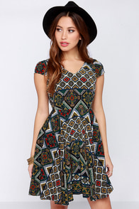 Hola Chic-a Green Multi Print Dress at Lulus.com!