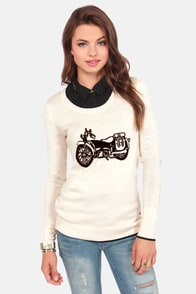 Volcom Bad Toda Stone Cream Motorcycle Print Sweater