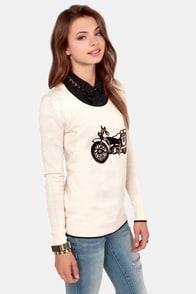 Volcom Bad Toda Stone Cream Motorcycle Print Sweater at Lulus.com!