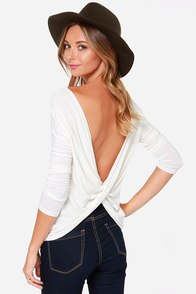 Scoop de Ville Ivory Long Sleeve Top at Lulus.com!