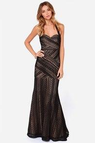 Bariano Belinda Black Lace Maxi Dress at Lulus.com!