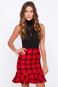 I Solemnly Square Red Plaid Skirt at Lulus.com!