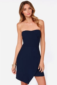 All Obstacles Com-Pleated Navy Blue Strapless Dress at Lulus.com!