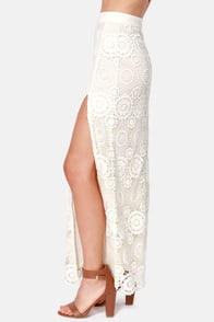 Black Swan Fossil Cream Crochet Maxi Skirt at Lulus.com!