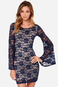 LULUS Exclusive Bell Me Why Navy Blue Long Sleeve Dress at Lulus.com!