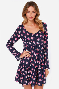 Volcom Nevermore Navy Blue Long Sleeve Floral Print Dress at Lulus.com!