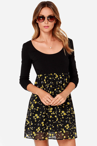 Volcom Baby SqueezeMe Black Long Sleeve Dress at Lulus.com!