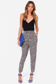 Shapes of Things to Come Ivory Print Harem Pants at Lulus.com!