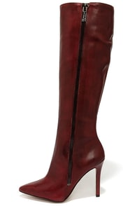 Jessica Simpson Capitani Oxblood Leather High Heel Boots at Lulus.com!