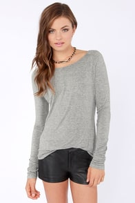 Rhythm My Scoop Long Sleeve Grey Top at Lulus.com!