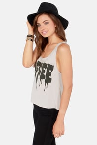 Rhythm Coffee Beige Print Tank Top at Lulus.com!