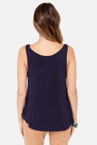 Rhythm Dazed Navy Blue Tank Top at Lulus.com!