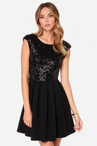 Because The Night Black Sequin Skater Dress at Lulus.com!