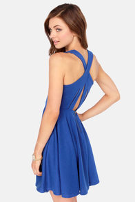 Crisscross The Line Royal Blue Dress