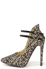Lace Make a Move Champagne and Black High Back Heels at Lulus.com!