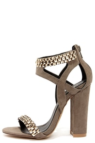 Stud-ette Grey Suede and Gold Studded Heels at Lulus.com!