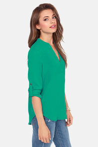 V-sionary Emerald Green Top at Lulus.com!
