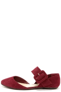 Bandita Burgundy Buckled D'Orsay Flats at Lulus.com!