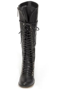 Georgia 35 Black Lace-Up Knee High Boots at Lulus.com!