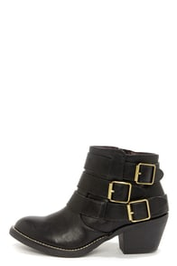 Report Signature Acer Black Buckled Ankle Boots at Lulus.com!