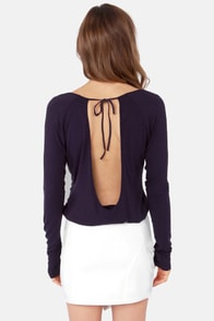 Rhythm My Scoop Long Sleeve Navy Blue Top at Lulus.com!