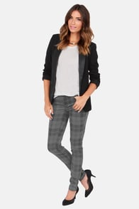Moto Super Skinny Grey Plaid Skinny Jeans at Lulus.com!