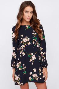 Herbaceous Babe Navy Floral Print Shift Dress