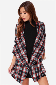 Hazel Check Lust Navy Blue Plaid Coat at Lulus.com!