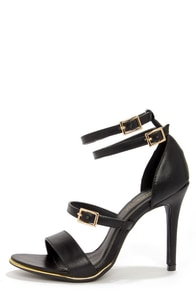 Shoe Republic LA Gemini Black Ankle Strap Heels at Lulus.com!