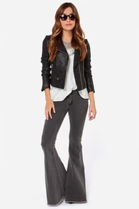 Battle Mountain Grey Flare Jeans at Lulus.com!