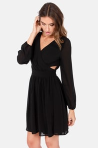 At First Glance Long Sleeve Black Dress at Lulus.com!
