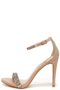 Steve Madden Suzzana Natural Rhinestone Single Strap Heels at Lulus.com!